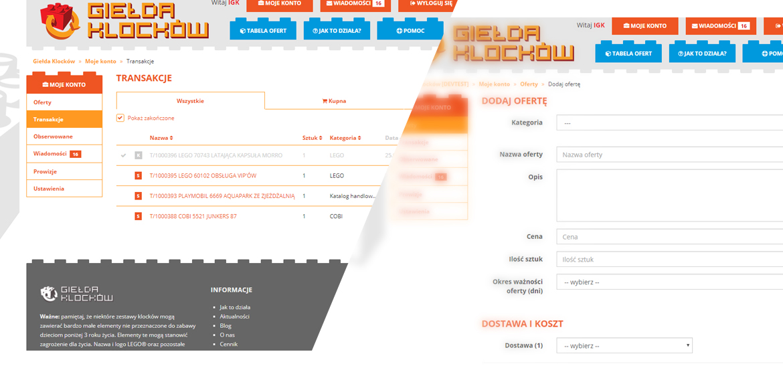 Panel klienta serwisu Giełda Klocków
